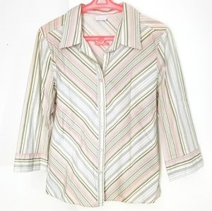 Ladies tapered striped 3/4 sleeve shirt blouse